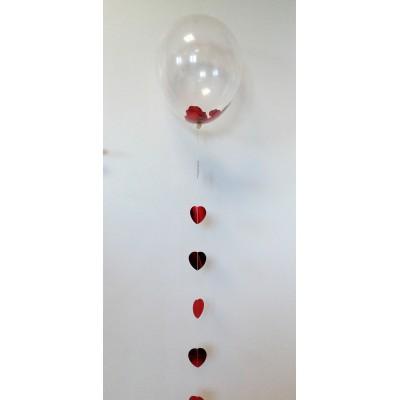3 palloncini con coriandoli a cuore