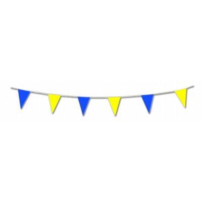 Bandierine triangolari gialle e blu