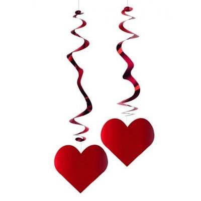 Festone a spirale cuore rosso pacco da 6