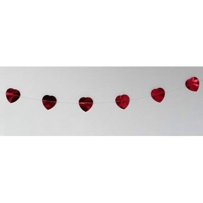 Festone cuori rossi metallizzati