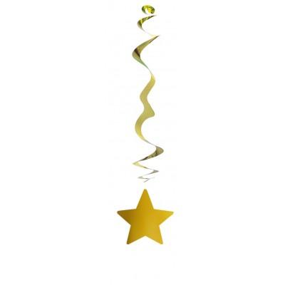 Stella dorata pendente a spirale - confezione da 6