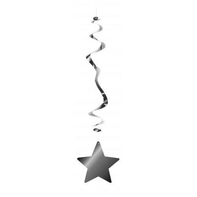 Stella argentata pendente a spirale - confezione da 6