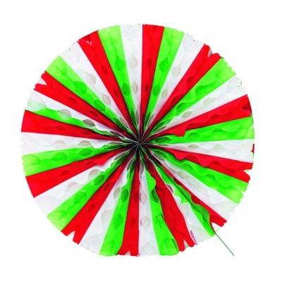 Ventaglio a nido d'ape verde, bianco e rosso
